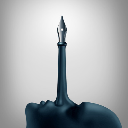 False advertising concept as a trust symbol of a pinocchio long nose of a liar with a pen nib tip as a metaphor for misinformation or fiction writing with 3D illustration elements.