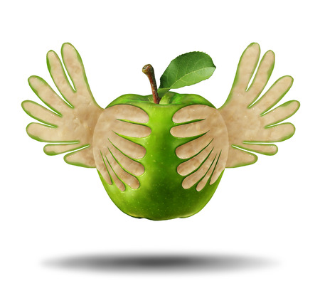 Eating light healthy food as a green apple with the peel shaped as flying wings as a symbol for the power of fresh nutrition in a 3D illustration style. Reklamní fotografie