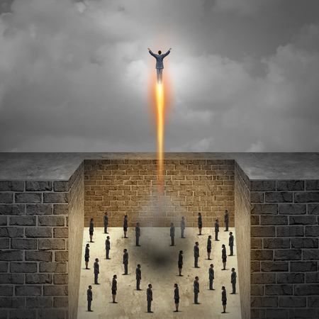 trapped: Career boost business concept as a businessman taking off as a rocket from a group of company workers trapped in walls as a metaphor for entrepreneur achievement and ambition freedom with 3D illustration elements. Stock Photo