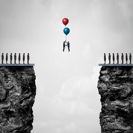 one people: Conquering adversity creating a bridge to business partnership concept as a group of people on one cliff making an agreement with another using air balloons as a metaphor for bridging the gap for success with 3D illustration elements. Stock Photo