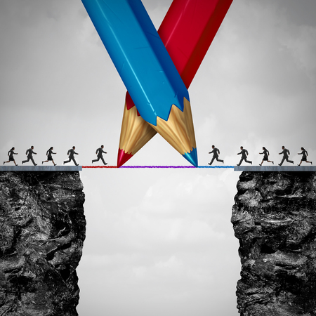 Drawing a bridge together and conquering group adversity business concept as two teams of people running from one cliff to another with the help of a red and blue pencil line as a bilateral agreement with 3D illustration elements.