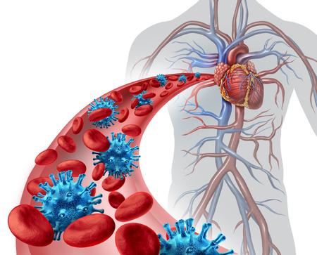 celulas humanas: infección por el virus de la sangre concepto médico como un cuerpo humano con una arteria que muestra patógeno microscópico y glóbulos rojos en riesgo de la enfermedad procedente del sistema cardiovascilar con elementos de ilustración 3D. Foto de archivo