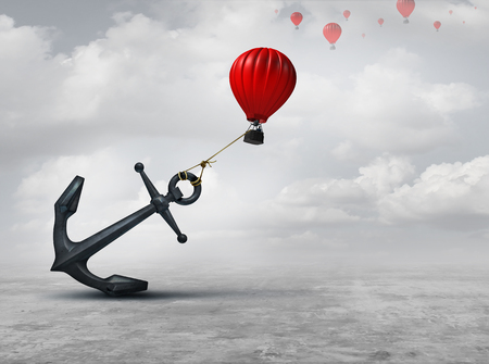 distressed: Held back metaphor as a large anchor holding or oppressing an air balloon and restricting movement as a suppression business metaphor  from aspiring to succeed with 3D illustration elements. Stock Photo