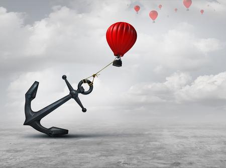 Odtworzona metafora jako wielka kotwica utrzymująca lub uciskająca balon powietrzny i ograniczająca ruch jako metafora biznesowa powstrzymywania od aspirowania do odniesienia sukcesu z elementami 3D ilustracji.
