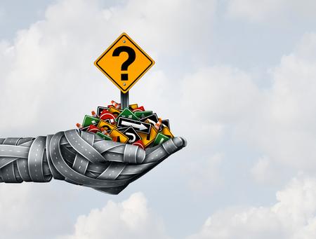 Solution de stratégie de chemin et direction d'idées dans le concept de leadership commercial ou de transport, présentant le bon plan stratégique avec un groupe de routes façonné en main et tenant des panneaux de signalisation sous forme d'illustration 3D. Banque d'images - 72942251
