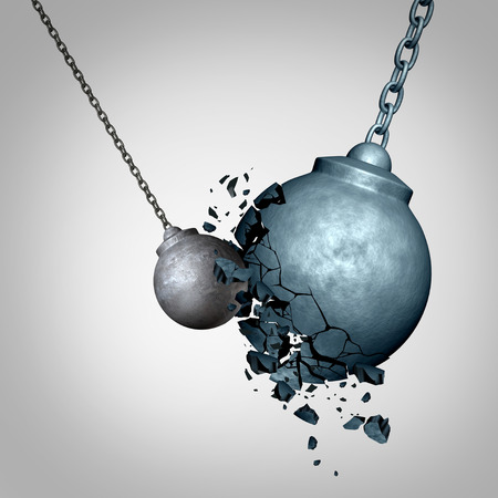 Small business winning and defeating a much larger opponent as a david and goliath metaphor with a tiny wrecking ball destroying a much larger sphere as a symbol for power and courage top win as a 3D illustration. Фото со стока - 73360031