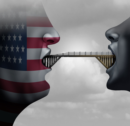 concept: American immigration ban concept showing America with a closed mouth blocking a bridge as a traveling restriction metaphor for Washington travel and United States migration policy with 3D illustration elements.