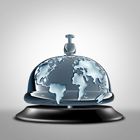 help: Global service symbol as a front desk hotel bell with the world embosed in the silver as a metaphor for globe communication services and vacation hospitality icon as a 3D illustration.