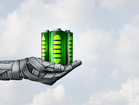electric power station: Electric transportation and battery fuel symbol as a group of road objects shaped as a human hand holding rechargeable and renewable energy cell as a metaphor for future transport sustainability as a 3D illustration. Stock Photo