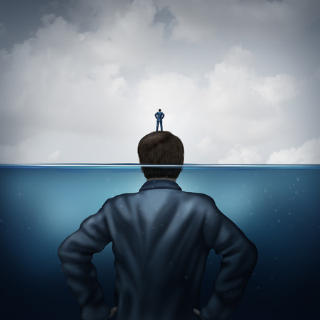 Sponsor and sponsorship concept or secret service symbol as a person standing on a a giant support leader or security guard protecting as an island in an ocean of danger in a 3D illustration style.
