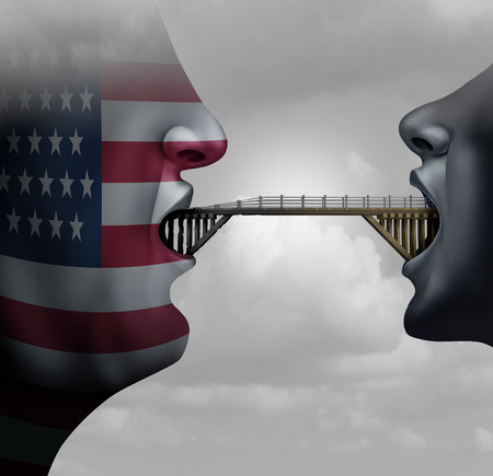 idea: American immigration ban concept showing America with a closed mouth blocking a bridge as a traveling restriction metaphor for Washington travel and United States migration policy with 3D illustration elements.