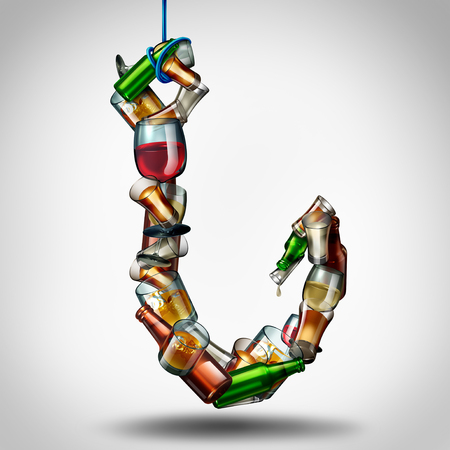 Alcohol hook and under the influence of alcoholic drinks as a group of bottles and glasses shaped as a fishing lure as a health and medical risk of addiction as a 3D illustration. Stock Photo
