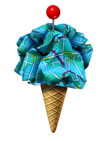 ice: Summer travel symbol and seasonal driving vacation as an icecream cone holding a group of crumplesd paper maps shaped as ice cream with a red location pin on top as a metaphor for tourism or tourist activities with 3D illustration elements.