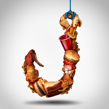 Hooked on fat concept as a fast food or high calorie snackd shaped as a tempting lure as a eating psychology concept with 3D illustyration elements.