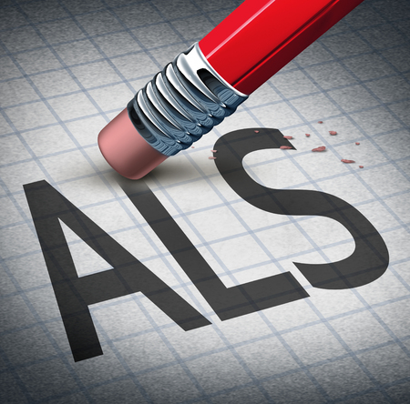 ailment: Amyotrophic laterals sclerosis or ALS as a neurodegenerative disease therapy and cure concept as a pencil eraser erasing the ailment as a metaphor for hope as a 3D illustration. Stock Photo