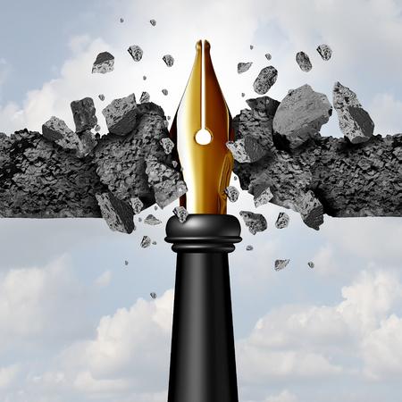 Kracht van het penconcept als een schrijfinstrument met een gouden penpunt die door een cementmuur breekt als een blog of krachtig communicatiemiddel om nieuwe wegen in te slaan met 3D-illustratie-elementen. Stockfoto - 73360054