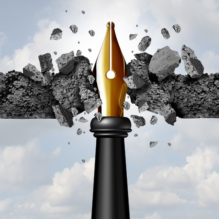 Power of the pen concept as a writing instrument with a golden nib breaking through a cement wall as a blogging or powerful communication tool to break new ground with 3D illustration elements.