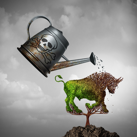 Economic toxic policy and killing a bullish market or harming the economy as a poison water can poisoning a tree shaped as a bull with 3D illustration elements.
