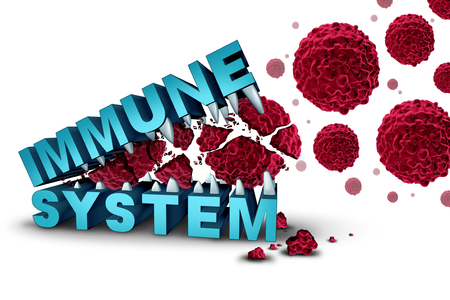 infected: Immune system concept and immunology or immunotherapy dna based treatment with text eating and destroying malignant cancer cells as a medical and medicine cure as a 3D illustration.