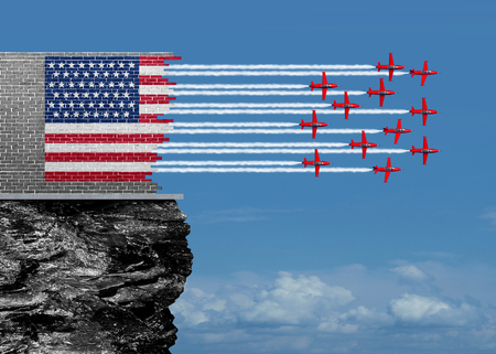 economic revival: American renewal and US economic revival concept as a broken brick wall with jet airplanes completing the USA flag with air show aerobatics smoke trails as an economic confidence for future economy and financial success with 3D illustration elements.