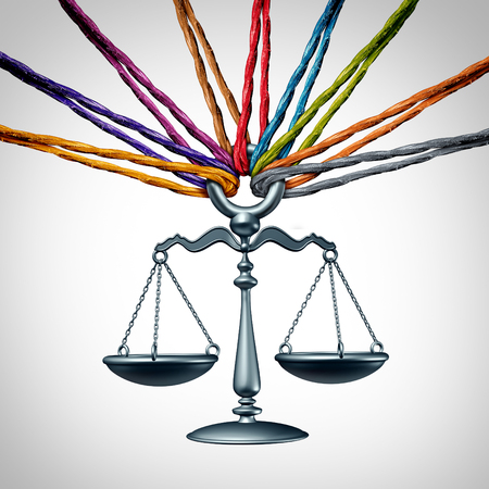 scale of justice: Community law or class action lawsuit and legal assistance concept as a group of diverse ropes representing social justice and cooperating together to provide judicial advice with 3D illustration elements.