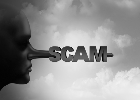 communication: Scam concept as a scamming person with a liar pinocchio long nose with text as a symbol for criminal dishonesty with 3D illustration elements.
