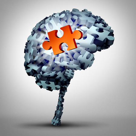 idea: Brain puzzle solution as a human mind made of jigsaw pieces with one object as a glowing redsymbol of inspiration and wisdom as a 3D illustration. Stock Photo