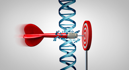 Genetic breakthrough and medical gene therapy treatment discovery concept as a dart hitting a target by breaking a double helix representing genes as a 3D illustration.