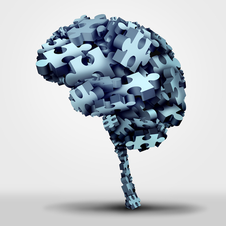 Brain puzzle concept and neurological or psychological health symbol as a neurology and psychology icon as a a group of 3D illustration jigsaw pieces shaped as a human thinking organ as a mental memory issue or learning disorder.