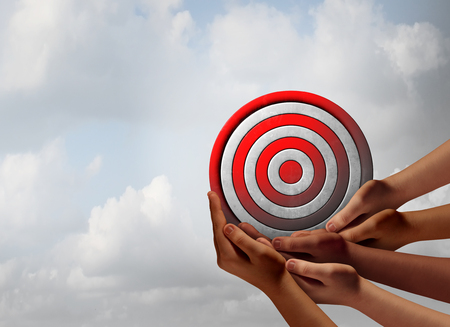 business focus: Target audience concept as a group of diverse hands holding a bullseye as a business marketing metaphor for customer and consumer focus group targeting with 3D illustration elements.
