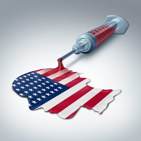 American health care concept as a syringe releasing liquid shaped as a human head and flag of the United States as a government legislation and healthcare insurance plan policy as a 3D illustration.