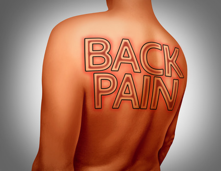 human anatomy: Back pain medical concept as text tattoo art on human skin as a muscular health or skeletal ache or spine injury with 3D illustration elements. Stock Photo
