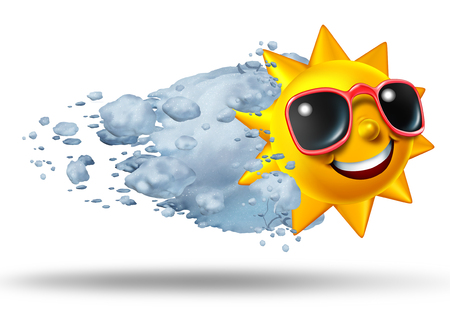 ice: Season change and seasonal weather concept as a cold snowball hitting a hot sun character as an air conditioning and precipitation climate icon or global warming symbol as a 3D illustration. Stock Photo