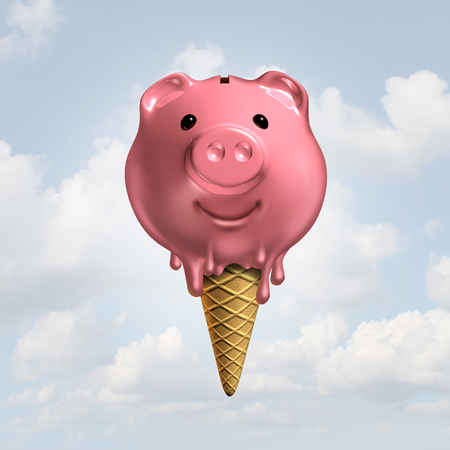 symbols: Summer savings concept as a melting piggy bank icecream on a cone as a hot fun financial symbol or feeling the economic heat icon and vacation budget as a 3D illustration. Stock Photo