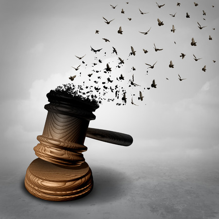 Amnestie-Konzept und Gesetz Ablehnung oder Symbol für eine gesetzliche Entschuldigung als Richter Hammer oder Schläger in freie fliegende Vögel als Gerechtigkeit Metapher für Güte oder Ungerechtigkeit und Freiheit als 3D-Illiustration verwandelt werden. Standard-Bild - 74485651
