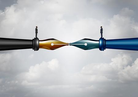 Contract ondertekening en bedrijfsovereenkomst om een overeenkomst te ondertekenen als twee zakenlieden op inktpennen die samenwerken als zakenpartners om te komen tot een regeling of onderlinge overeenkomst met 3D illustratieve elementen.