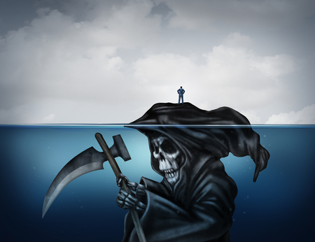 unknowing: Death is looming concept or health risk and unknowingly have a false sense of security as a symbol in a 3D illustration style with a person standing on an island that is secretly a grim reaper underwater.