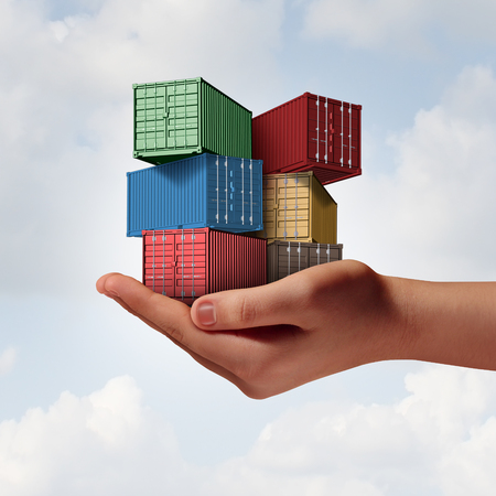 Cargo shipping support concept as a hand holding a group of freight containers as a transport and logistics or commerce metaphor with 3D illustration elements. Stock Photo