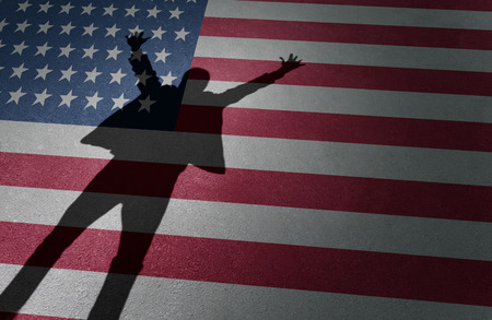 shadow: American dream success and business entrepreneur excitement or immigration celebration as the shadow of a happy person on a USA flag in a 3D illustration style.