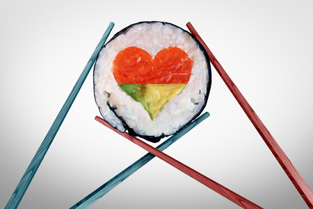 piece: Dinner for two dining and romantic date concept as a couple of chopsticks holding a sushi piece with a love heart shape with 3D illustration elements.