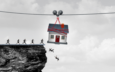 defects: Real estate trap and housing danger or the risk of owning a home concept as people being lead off a cliff by a family house as a symbol for residential financial debt or renovation money pit with 3D illustration elements.