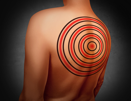 threatened: Target on your back metaphor as a person with a tattoo of a bulls eye symbol tattooed on the skin as an icon for being a victim of bullying and bullied or psychology of feeling vulnerable with 3D illustration elements.