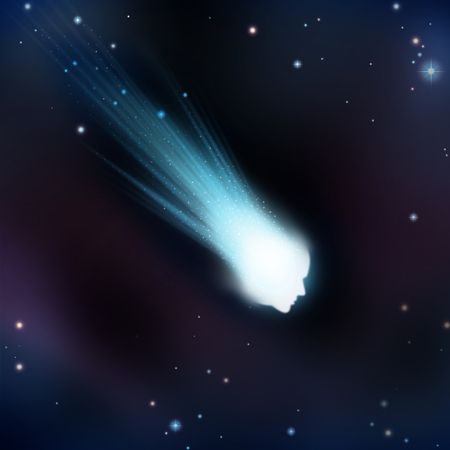 shaped: Crash and burn concept as an idiom for burnout in business or life with a falling meteor in space shaped as a human head as a metaphor for personal failure or exhaustion in a 3D illustration style.