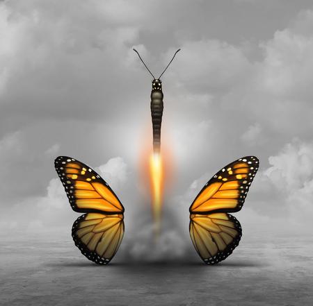 Optimaliseer en optimaliseer of bereik meer met minder concept als een vlinder die vleugels laat loslaten terwijl u opstijgt als een raketbooster als bedrijfs- of levensmetafoor voor minimalisme of om te vereenvoudigen met 3D-illustratieve elementen.