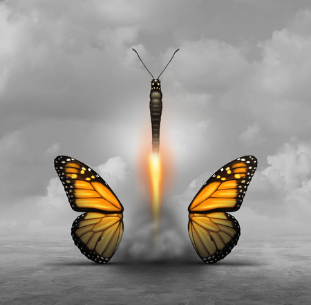 Optimize and optimization or achieving more with less concept as a butterfly letting go of wings while taking off like a rocket booster as a business or life metaphor for minimalism or to simplify with 3D illustration elements. 版權商用圖片