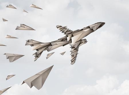 Teamwork unity concept en gezamenlijk inspannings symbool als een groep papiervliegtuigen die samenwerken om een jetvliegtuigvorm te vormen als een business team strategie metafoor met 3D illustratie elementen.
