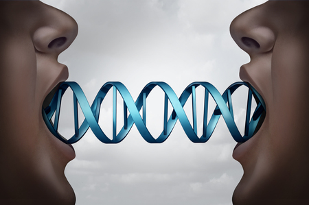 bio medicine: Gene cloning and DNA medical clone technology concept as clones with a double helix molecular structure connecting the two people as a genome biotechnology symbol with 3D illustration elements.