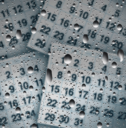 weather terms: Rainy day schedule concept as a wet window with rain water drops on glass with calendar pages as a weather forecast or scheduling change due to precipitation or storm in a 3D illustration style. Stock Photo