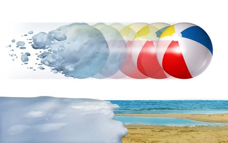 palle di neve: Freddo a caldo concetto di tempo come una neve di inverno congelante trasformandosi in una palla da spiaggia estiva come una stagione cambia o la temperatura cambia metafora con elementi di illustrazione 3D. Archivio Fotografico