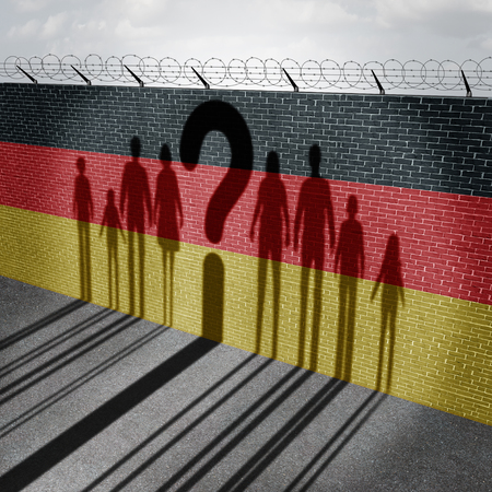 German refugee question and immigration government policy as newcomers in Germany as the cast shadow on a wall with the flag representing Germans with 3D illustration elements. Stock Photo